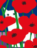 Vitkatt med röda blommor Royaltyfri Bild