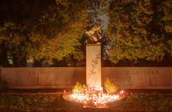 Vitkovice cemetery with decorations and candles burning on the world war one and two during the All Saints Day in CZ Royalty Free Stock Photo
