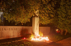 Vitkovice cemetery with decorations and candles burning on the world war one and two during the All Saints Day in CZ Royalty Free Stock Photos