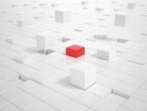 Vitkuber och en röd kub som bygger en plattform Arkivfoton