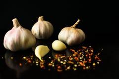 Vitlök och kryddor på en svart bakgrund arkivfoton