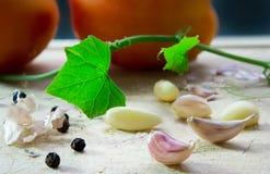Vitlök och peppar Fotografering för Bildbyråer