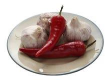 Vitlök och varm peppar Arkivfoto