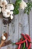 Vitlök, peppar, basilika, rosmarin och parmigiano Arkivbilder