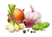 Vitlökkryddnejlika, lök, röd peppar och kryddor Arkivbild