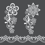 Vitnage lace half single vector pattern set - floral lace design collection, retro openwork background vector illustration