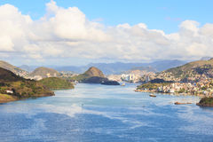 Vitoria,韦利亚镇,海湾,口岸,山,圣埃斯皮里图, Brazi 图库摄影