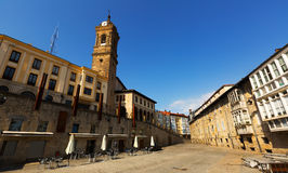 Vitoria-Gasteiz的历史的部分天视图  库存图片