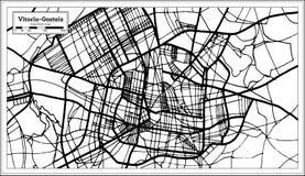 Vitoria Gasteiz西班牙在减速火箭的样式的市地图 黑白向量例证 免版税库存图片