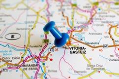 Vitoria-Gasteiz on map. Close up shot of Vitoria Gasteiz on map with blue push pin stock photo