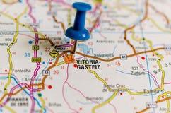 Vitoria-Gasteiz on map stock photo
