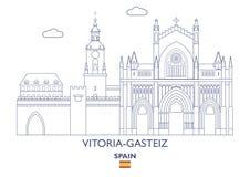 Vitoria-Gasteiz Stadshorizon, Spanje Royalty-vrije Stock Afbeelding