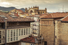 Vitoria. Roofs and Cathedral of Mary Immaculate in the old town of Vitoria - Gasteiz Stock Image