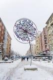 Vitosha οδός με το χιόνι στη Sofia, Βουλγαρία ανθίστε το χρονικό χειμώνα χιονιού Στοκ εικόνα με δικαίωμα ελεύθερης χρήσης