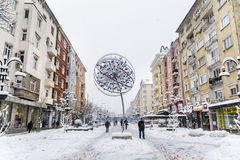 Vitosha street with snow in Sofia,Bulgaria.Winter time Stock Photos