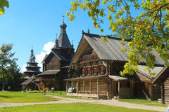 Vitoslavlitsy - The open-air museum of wooden architecture. Yurievo, Veliky Novgorod, Russia. YURIEVO VILLAGE, VELIKY NOVGOROD, RUSSIA - August 27, 2016: The Royalty Free Stock Images