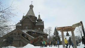 Vitoslavlitsy in Veliky Novgorod, Russia nell'inverno stock footage