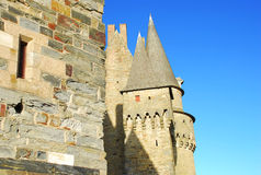 Vitré, Brittany, France, medieval castle. Medieval architecture, castle of Vitré, Brittany, France stock photos