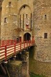 Vitré Brittany, Frankrike. Huvudsaklig slott Arkivfoto