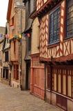 Vitré Brittany, Frankrike. Traditionell arkitektur Royaltyfri Fotografi