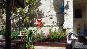 Vitrage guesthouse garden decor and interior. Nazareth old town, buildings and surrounding. Pilgrim nazareth old town  buildings surrounding easter annunciation stock photos