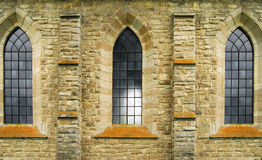 Vitrage windows of ancient abbey Royalty Free Stock Photos