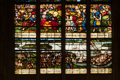 Vitrages in local Normandy church Royalty Free Stock Images