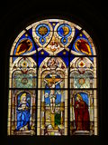 Vitrail. View of a stained glass window in the cathedral of Fribourg Royalty Free Stock Image