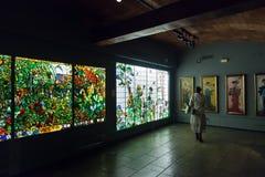 Vitrail dans l'intérieur du musée du catalan Modernisme photographie stock libre de droits