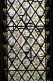 Vitral amarillo de los pájaros Imagen de archivo libre de regalías