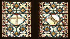 Vitral com cenas a paixão de Jesus na catedral de Zagreb imagens de stock