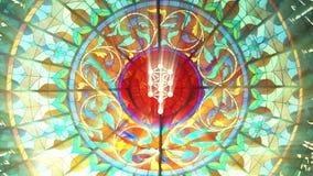 Vitral com símbolo da árvore de Kabbalah (laço sem emenda do QG 1080p) ilustração royalty free