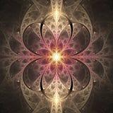 Vitral de incandescência abstrato com teste padrão floral no fundo preto Imagens de Stock Royalty Free