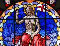 Vitral de Jesus Christ na basílica da Bolonha Fotos de Stock