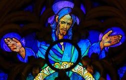 Vitral de Jesus Christ na catedral de Praga foto de stock