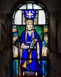 Vitral de la reina Margaret en la capilla de St Margaret. Fotografía de archivo