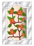 Vitral de las rosas, modelo de mosaico con las flores, cartabones y fondo rosa claro ilustración del vector