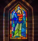 Vitral de Maria, de la madre y del niño Imagen de archivo