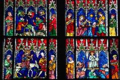 Vitral - diversas escenas del nuevo testamento Imagen de archivo libre de regalías