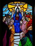 Vitral - domingo de Pentecostes imagem de stock