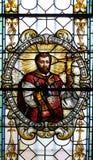 Vitral en la catedral de San Nicolás en Novo Mesto, Eslovenia fotos de archivo libres de regalías