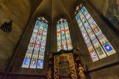 Vitral en la catedral de Vitus del santo Fotografía de archivo libre de regalías