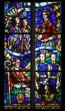 Vitral en Votiv Kirche la iglesia votiva en Viena Foto de archivo libre de regalías