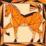 Vitral estilizado do horóscopo chinês - cavalo Foto de Stock Royalty Free
