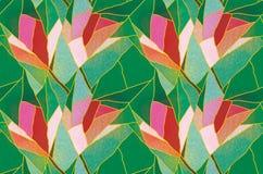 Vitral inconsútil multicolor con el adorno floral, vector del modelo Fotos de archivo