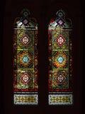 Vitral, janela colorida com um tema cristão Fotos de Stock Royalty Free
