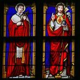 Vitral - Jesus Christ e Saint Charles Borromeo Foto de Stock