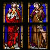 Vitral - Jesus Christ e Saint Roch ilustração stock