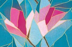 Vitral multicolor con el adorno floral, vector Imagen de archivo libre de regalías