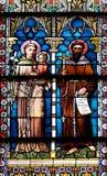 Vitral na catedral de São Nicolau em Novo Mesto, Eslovênia Fotos de Stock